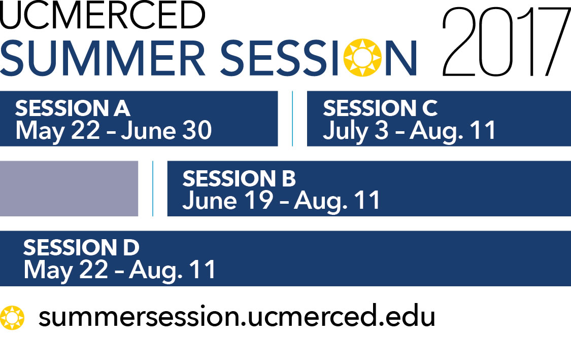 UC Merced Summer Session schedule - Session A - May 22 - June 30 Session B - June 19 - August 11 Session C - July 3 - August 11  Session D - May 22 - August 11