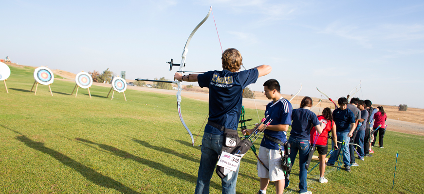 UC Merced students practicing archery.