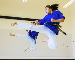 UC Merced students practicing karate.