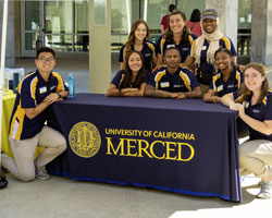 UC Merced Admissions student tour providers at the Welcome Center.